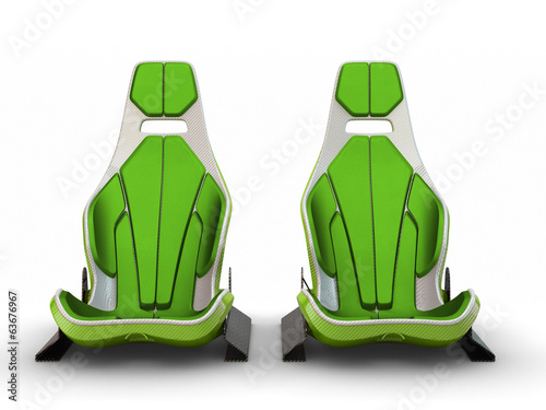 Two Racing leather carbon fiber seats isolated on white backgrou