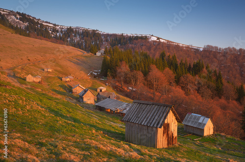 Houses of shepherds in the mountains