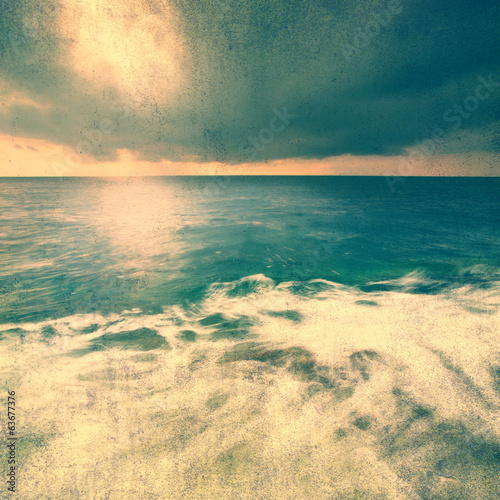 Grunge retro seascape