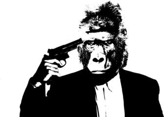 Suicide man with gorilla head