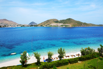 The beach at luxury hotel, Bodrum, Turkey