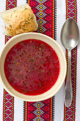 Traditional Ukrainian soup - red borsch
