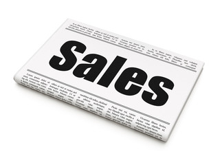 Advertising concept: newspaper headline Sales