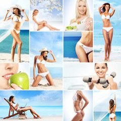 Collage: sport, fitness, nutrition, healthy eating