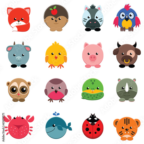 Set of vector animals isolated on white
