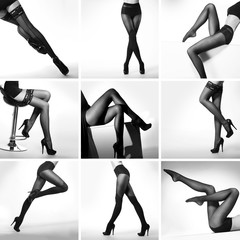 Set of black and white pictures with sexy female legs in hosiery