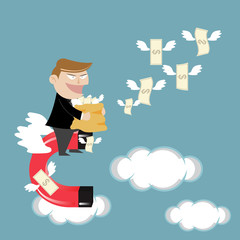 Businessman flying attracts money with magnet
