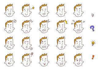 若い男性の20種類の表情