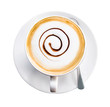 Coffee cup and saucer on white background