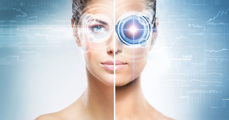 Woman with a laser hologram on their eyes