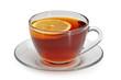 Glass cup with tea and a lemon on a glass saucer