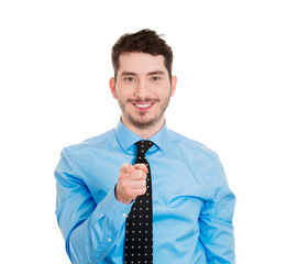 Smiling man pointing finger at camera you can do it gesture