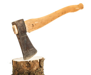 Axe and firewood, isolated on white background