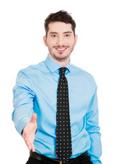 Portrait Confident smiling businessman giving handshake