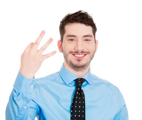 Man showing three fingers, number gesture, sign, body language