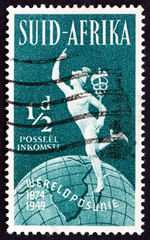 Postage stamp South Africa 1949 Mercury and Globe
