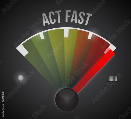 act fast sign marker illustration design