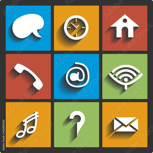 Communication icons and connection symbols