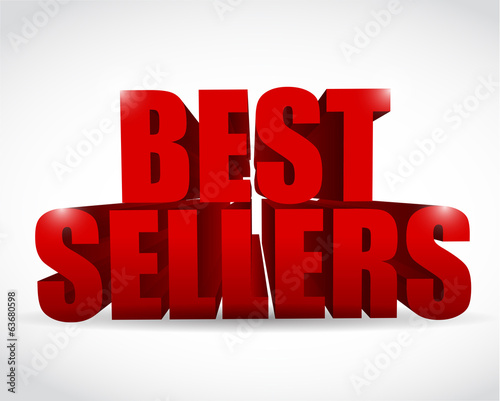 best seller red sign illustration design