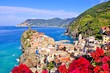 Vibrant view of a village along the coast of Italy