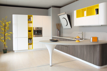 Modern kitchen white and yellow coloured