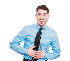 Man Laughing so hard, stomach hurts, white background