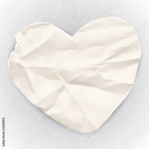 Old crumpled paper for notes, paper banner in the shape of heart