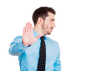 Man giving Talk to the hand gesture, isolated white background