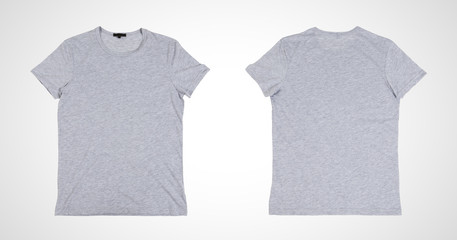 two blank gray tshirt front side on a white background