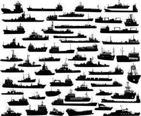 Vector set of 55 silhouettes of sea towboat and the ships