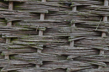 Close up of wicker fence