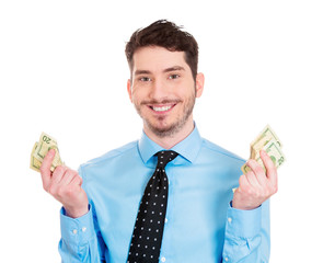 Young business man happy to have cash, be liquid