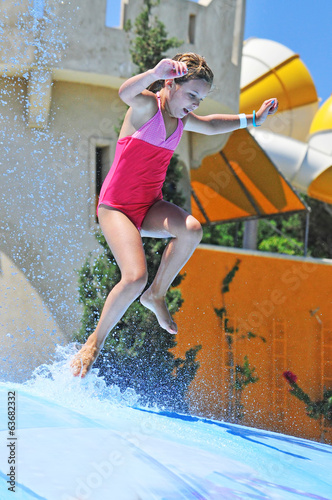 Little girl playing at the Water Park