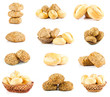 Assortment of baked bread.  bun bread isolated on white backgrou