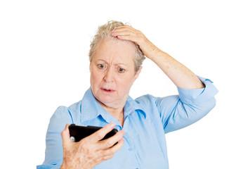 Losing hair, bad news, senior woman showed, realizes hair loss