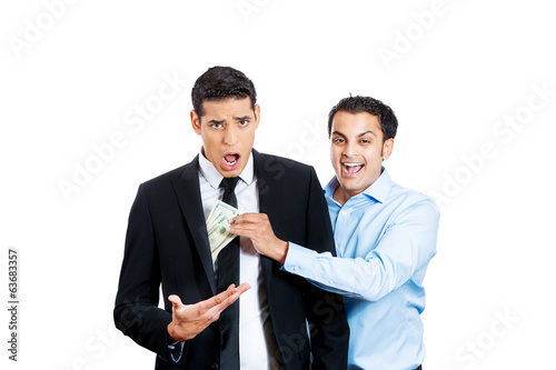 Stealing money. Business man gets robbed by a broker