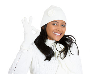 Winter happy smiling woman showing approval ok sign