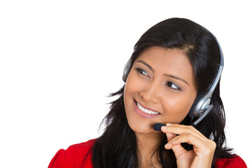 Attractive customer service representative on a phone