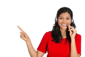 Attractive customer service representative on a phone