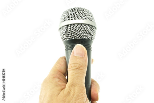 Hand hold black and silver microphone for interview isolated