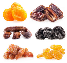 Collections of dried fruit on white background
