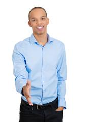 Young business man giving handshake