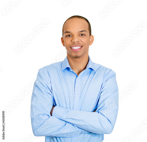 Confident smiling young business man