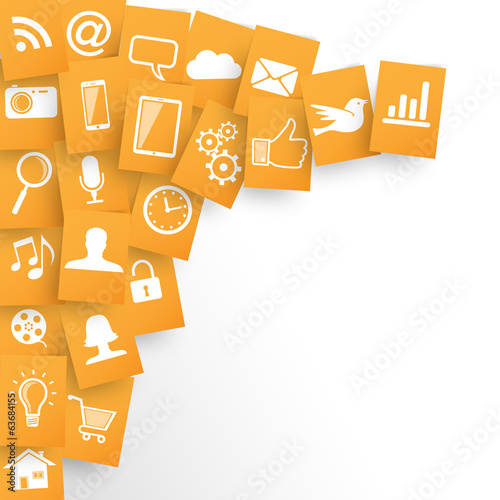 Webdesign Applications Background in Orange Papers