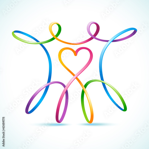 Colorful swirly figure couple with heart