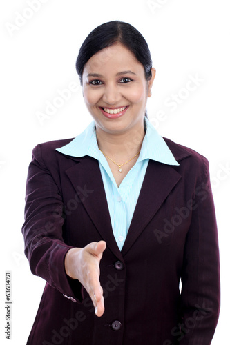 Business woman giving hand shake hand against white