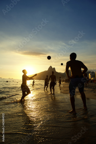 Brazilians Playing Sunset Altinho Futebol Beach Football