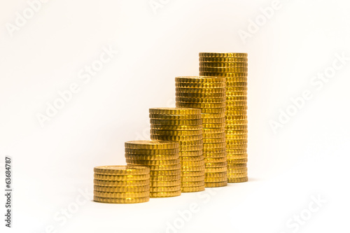 Yellow coins lined up from short to tall stacks