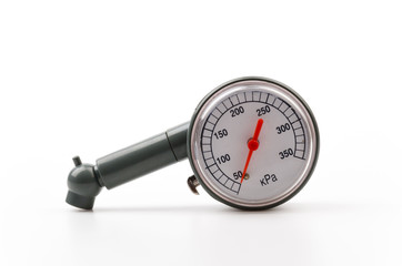 Tire pressure gauge isolated white background
