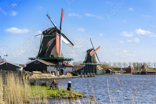 View of two windmills near Amsterdam